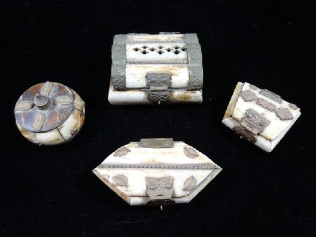 "4 SMALL CAMEL BONE BOXES, APPROX 2"" X 2"""