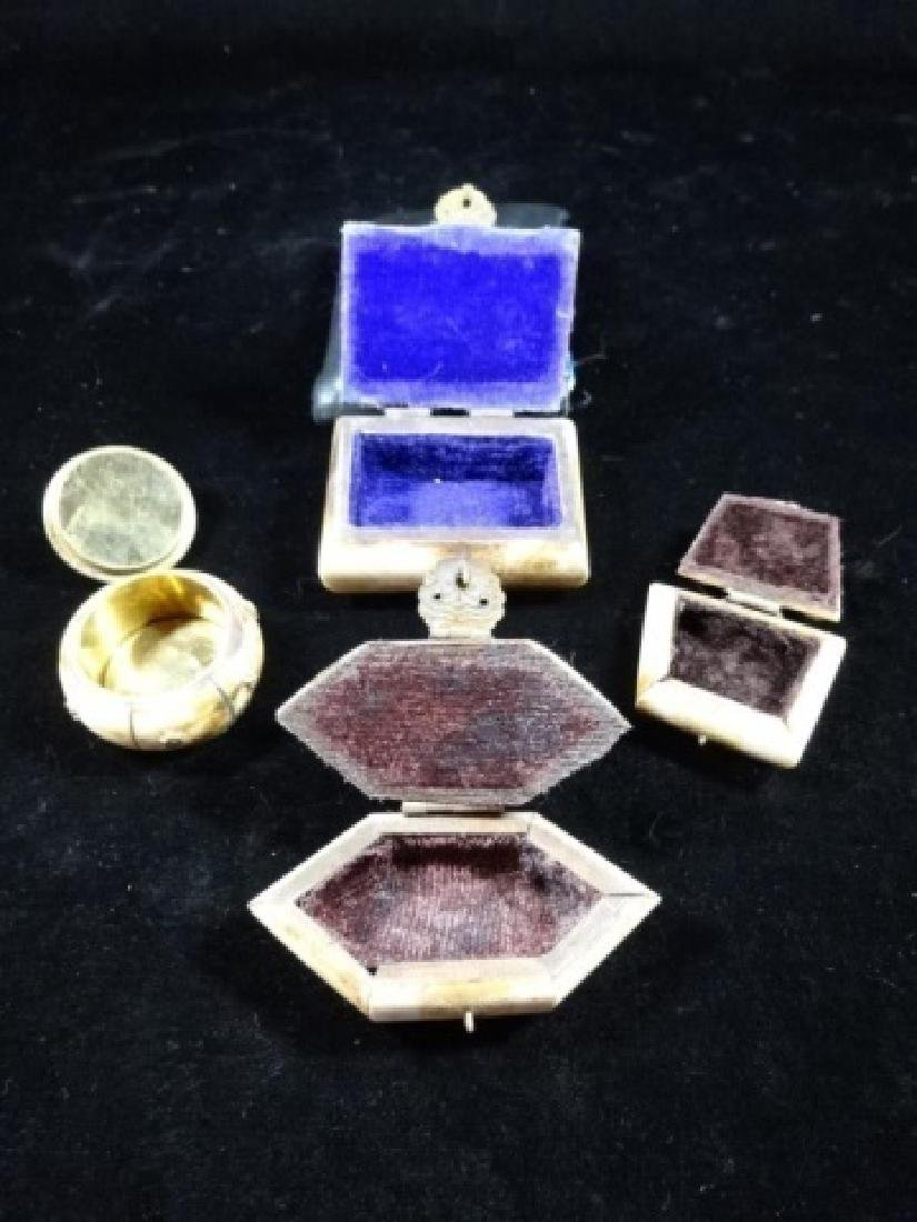 """4 SMALL CAMEL BONE BOXES, APPROX 2"""" X 2"""" - 4"""