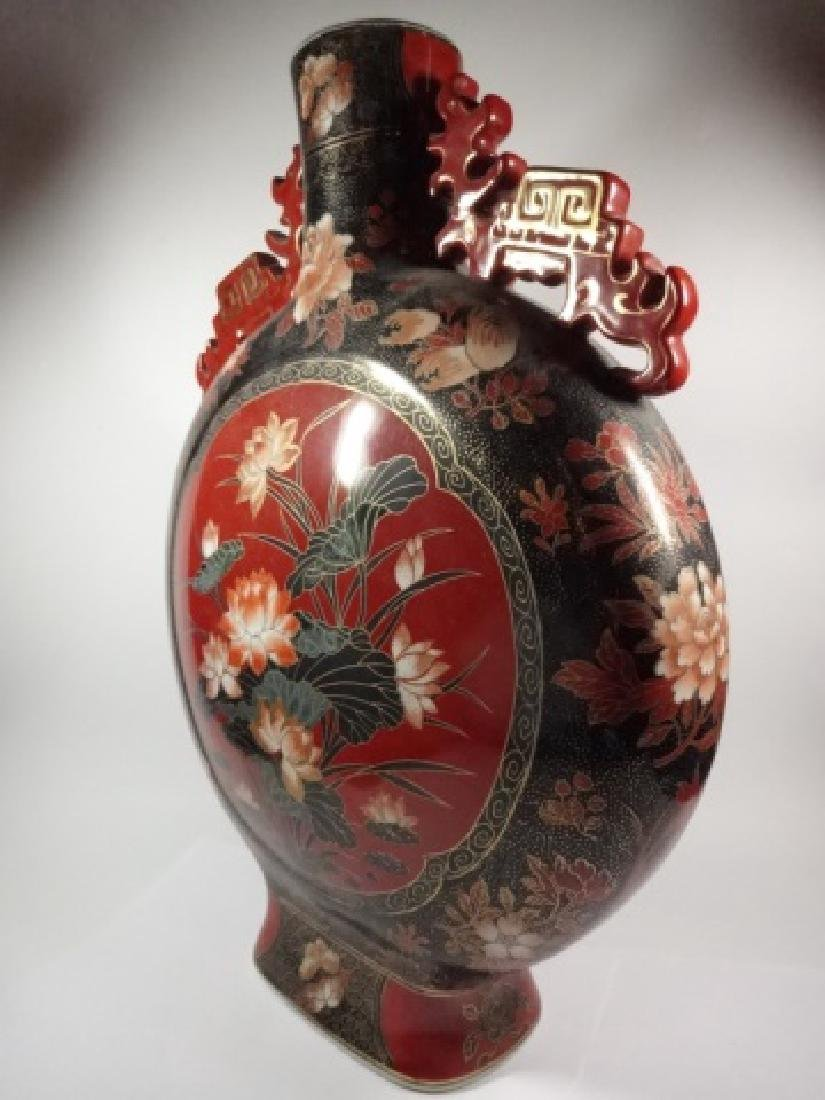 HUGE CERAMIC MOON FLASK VASE, RED & BLACK WITH LOTUS - 6