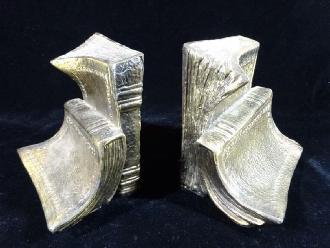 PAIR BRASS BOOKENDS WITH BOOK MOTIF, VERY GOOD