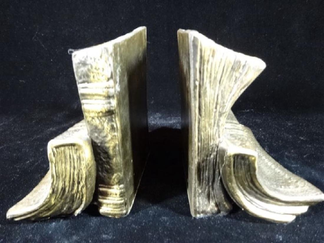 PAIR BRASS BOOKENDS WITH BOOK MOTIF, VERY GOOD - 2