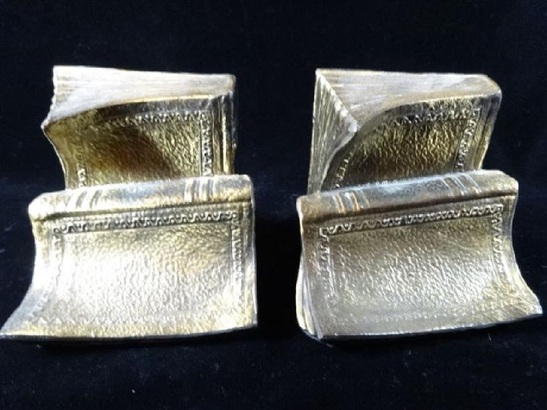 PAIR BRASS BOOKENDS WITH BOOK MOTIF, VERY GOOD - 3