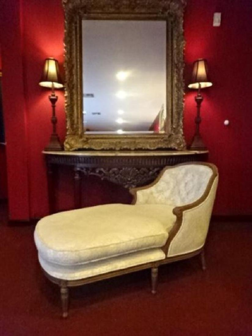 LOUIS XVI STYLE CHAISE LOUNGUE, MEDIUM FINISH CARVED