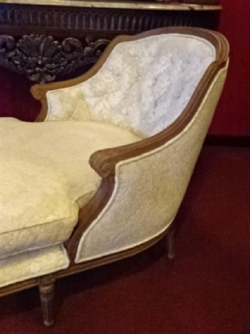 LOUIS XVI STYLE CHAISE LOUNGUE, MEDIUM FINISH CARVED - 4