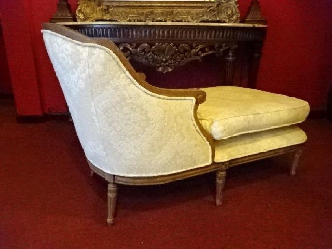 LOUIS XVI STYLE CHAISE LOUNGUE, MEDIUM FINISH CARVED - 6