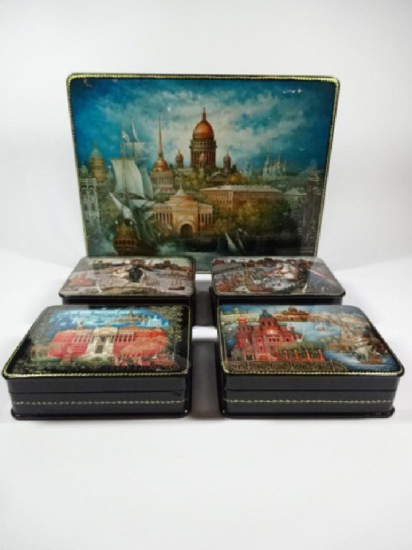 5 PC RUSSIAN HAND PAINTED LACQUERED BOXES, LARGE BOX