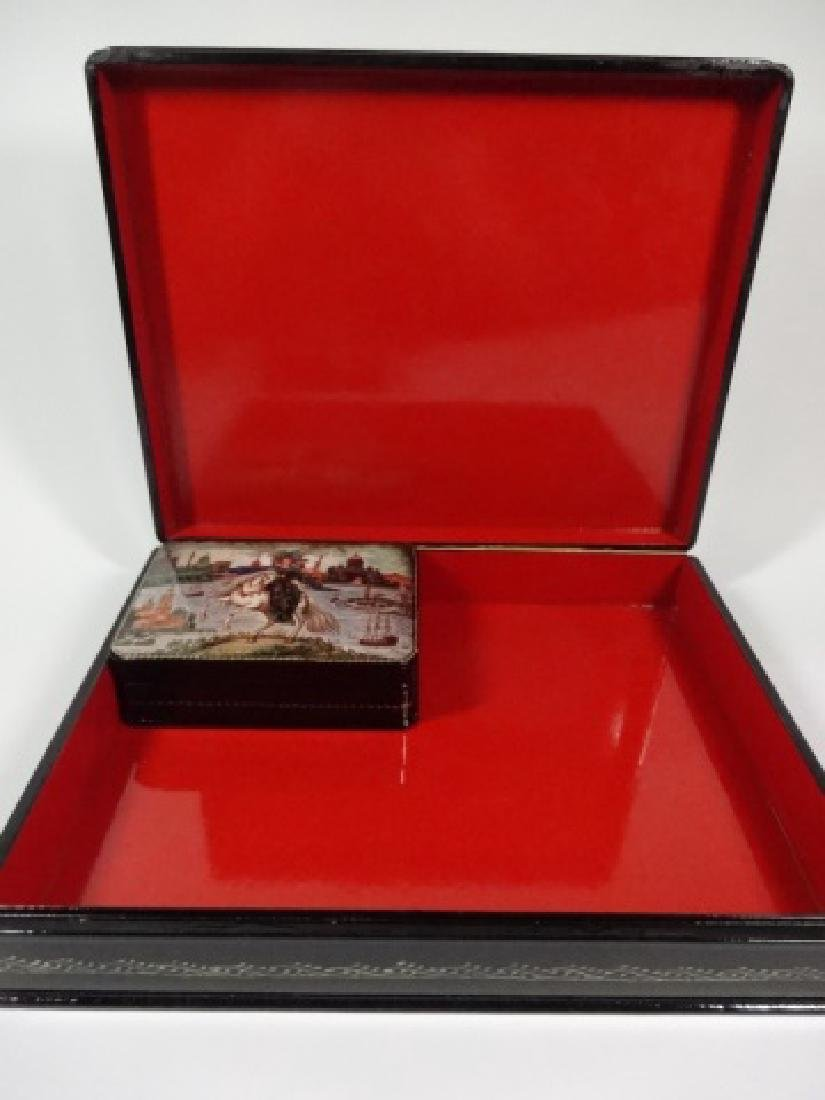 5 PC RUSSIAN HAND PAINTED LACQUERED BOXES, LARGE BOX - 5