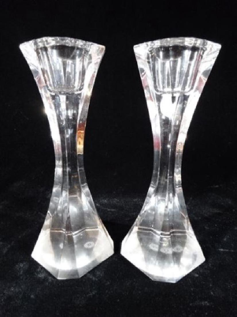 PAIR VILLEROY AND BOCH CRYSTAL CANDLESTICKS, MARKED,