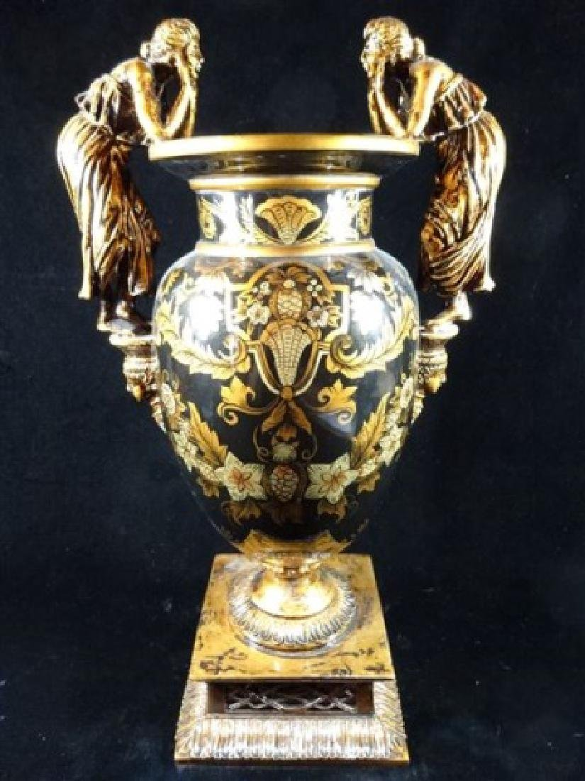 LARGE NEOCLASSICAL FIGURAL HANDLE VASE, BLACK AND GOLD