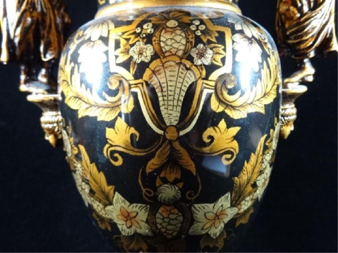 LARGE NEOCLASSICAL FIGURAL HANDLE VASE, BLACK AND GOLD - 2