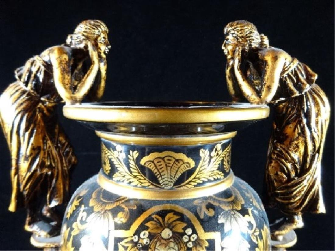 LARGE NEOCLASSICAL FIGURAL HANDLE VASE, BLACK AND GOLD - 3