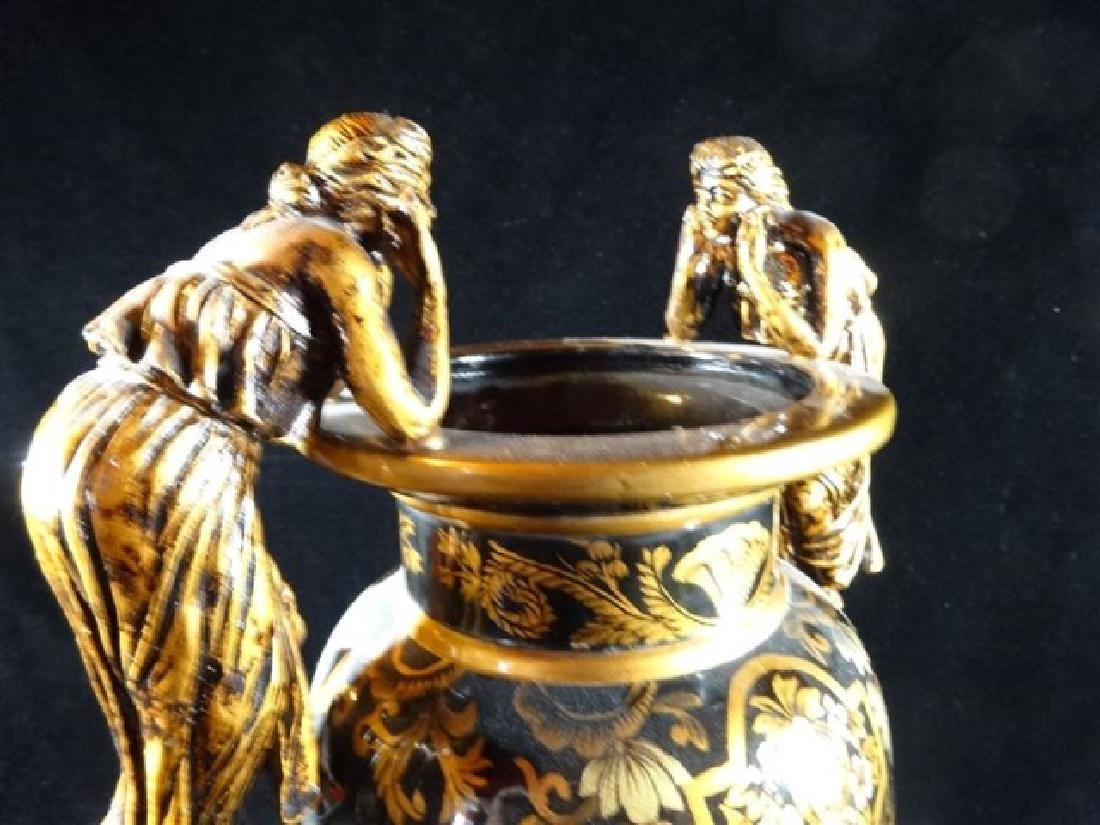 LARGE NEOCLASSICAL FIGURAL HANDLE VASE, BLACK AND GOLD - 5