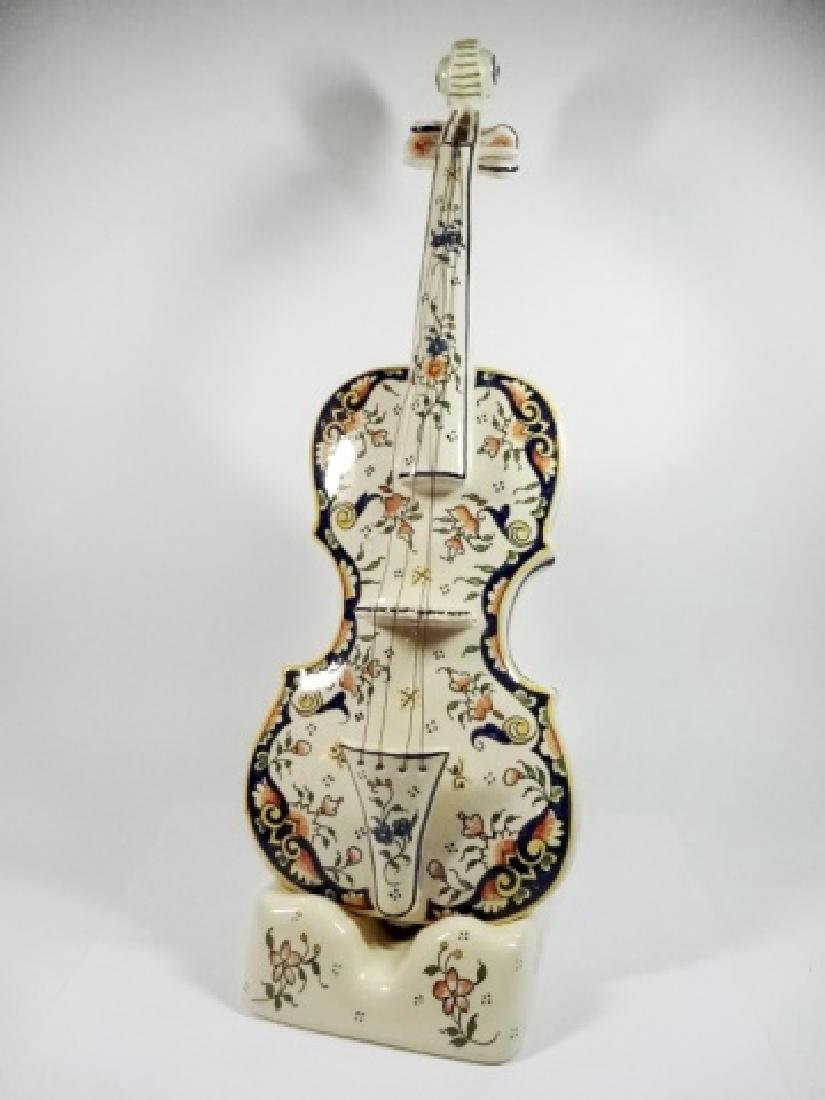 2 PC A. BRETON QUIMPER POTTERY VIOLIN WITH STAND, HAND