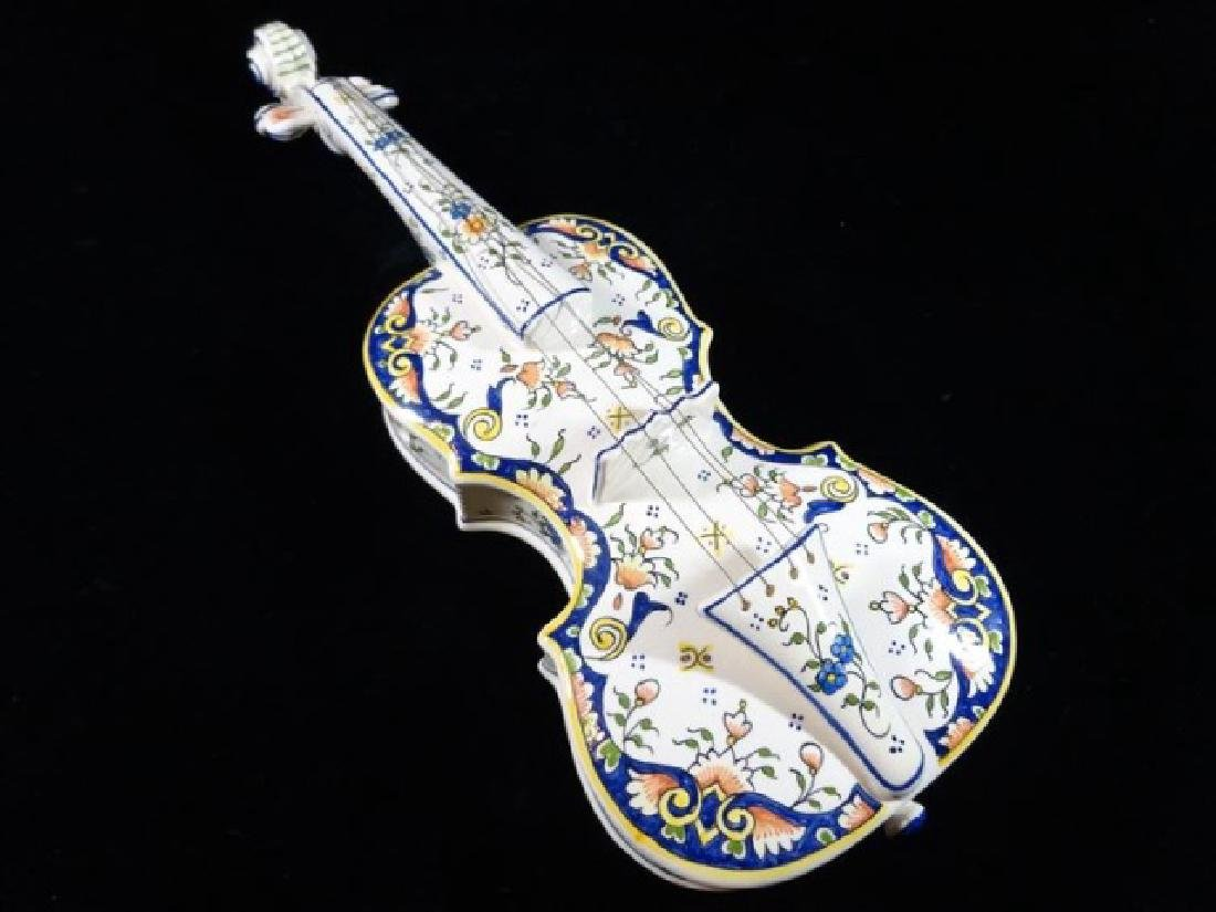 2 PC A. BRETON QUIMPER POTTERY VIOLIN WITH STAND, HAND - 9