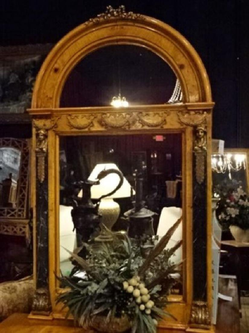 FRENCH EMPIRE STYLE CONSOLE TABLE AND MIRROR, GILT - 2