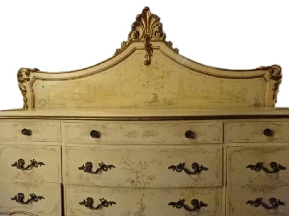 4 PC LOUIS XV STYLE KING BEDROOM SET, GILT AND PAINTED - 3