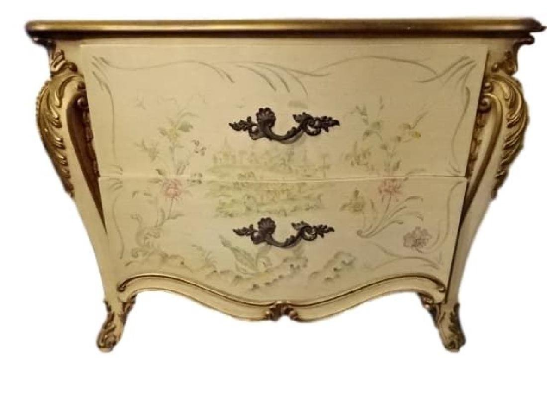 4 PC LOUIS XV STYLE KING BEDROOM SET, GILT AND PAINTED - 5