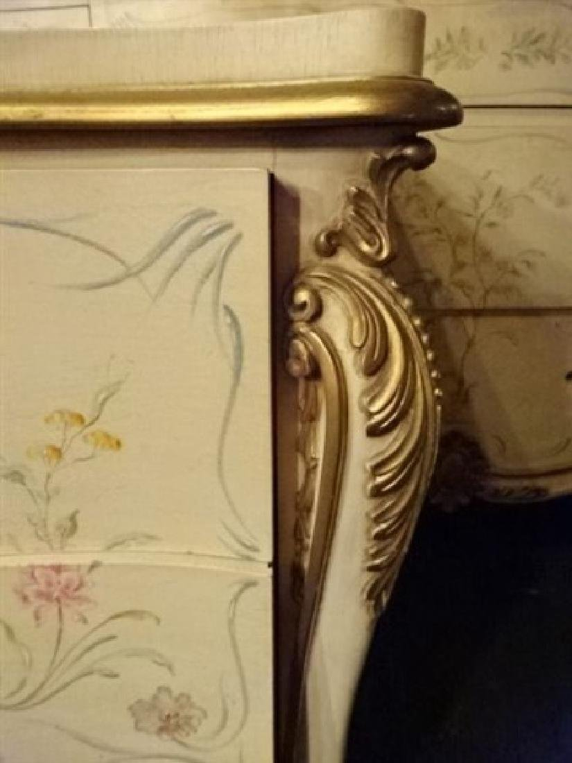 4 PC LOUIS XV STYLE KING BEDROOM SET, GILT AND PAINTED - 6