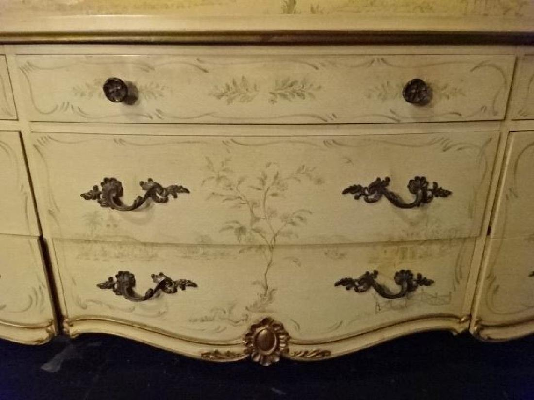 4 PC LOUIS XV STYLE KING BEDROOM SET, GILT AND PAINTED - 8