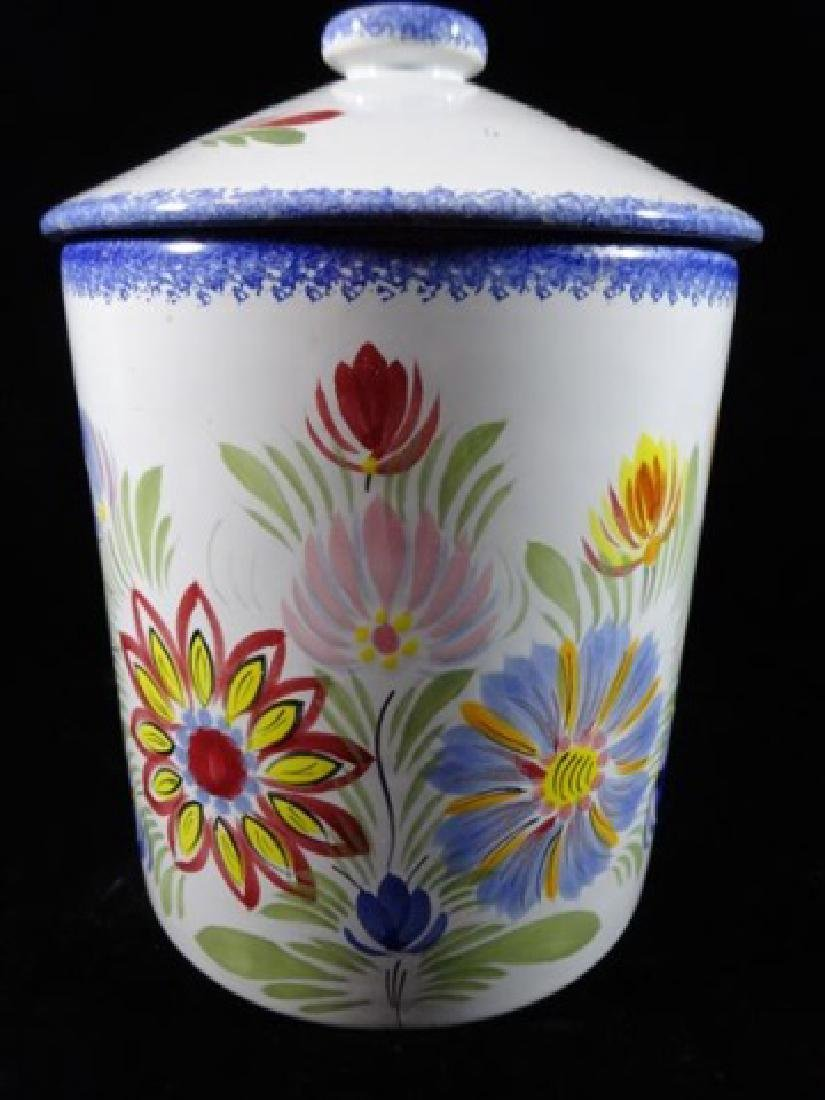 QUIMPER HENRIOT FRANCE POTTERY CANISTER WITH LID, HAND