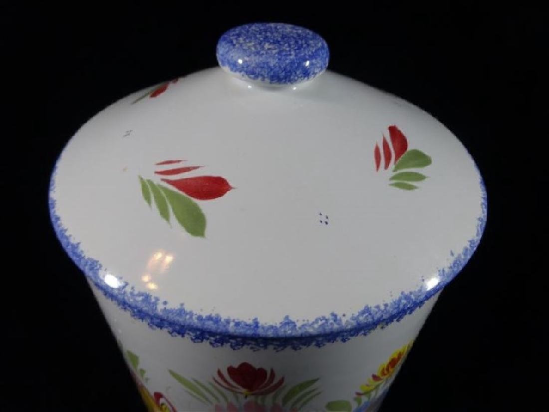 QUIMPER HENRIOT FRANCE POTTERY CANISTER WITH LID, HAND - 2