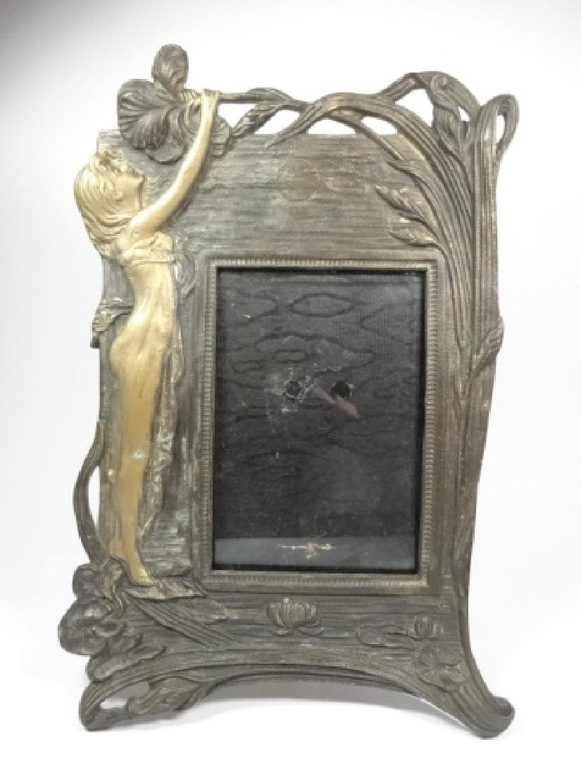 ART NOUVEAU STYLE PHOTO FRAME, WOMAN WITH FLOWER, GILT
