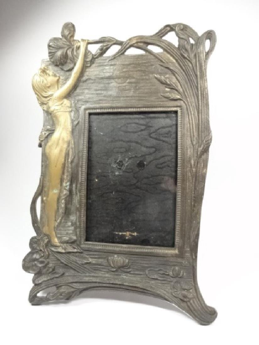 ART NOUVEAU STYLE PHOTO FRAME, WOMAN WITH FLOWER, GILT - 3