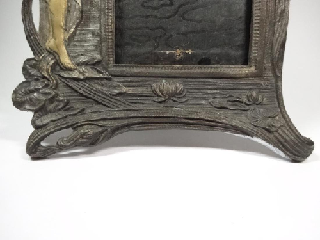 ART NOUVEAU STYLE PHOTO FRAME, WOMAN WITH FLOWER, GILT - 6