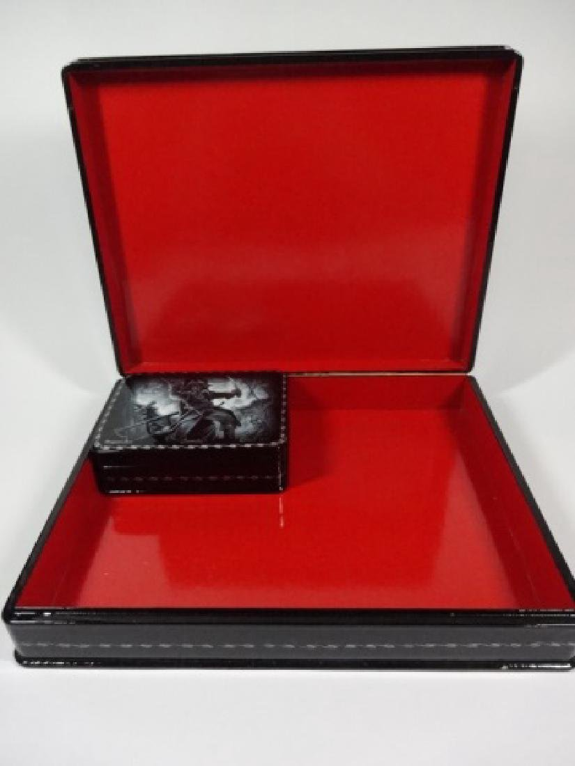5 PC RUSSIAN HAND PAINTED LACQUERED BOXES, LARGE BOX - 6