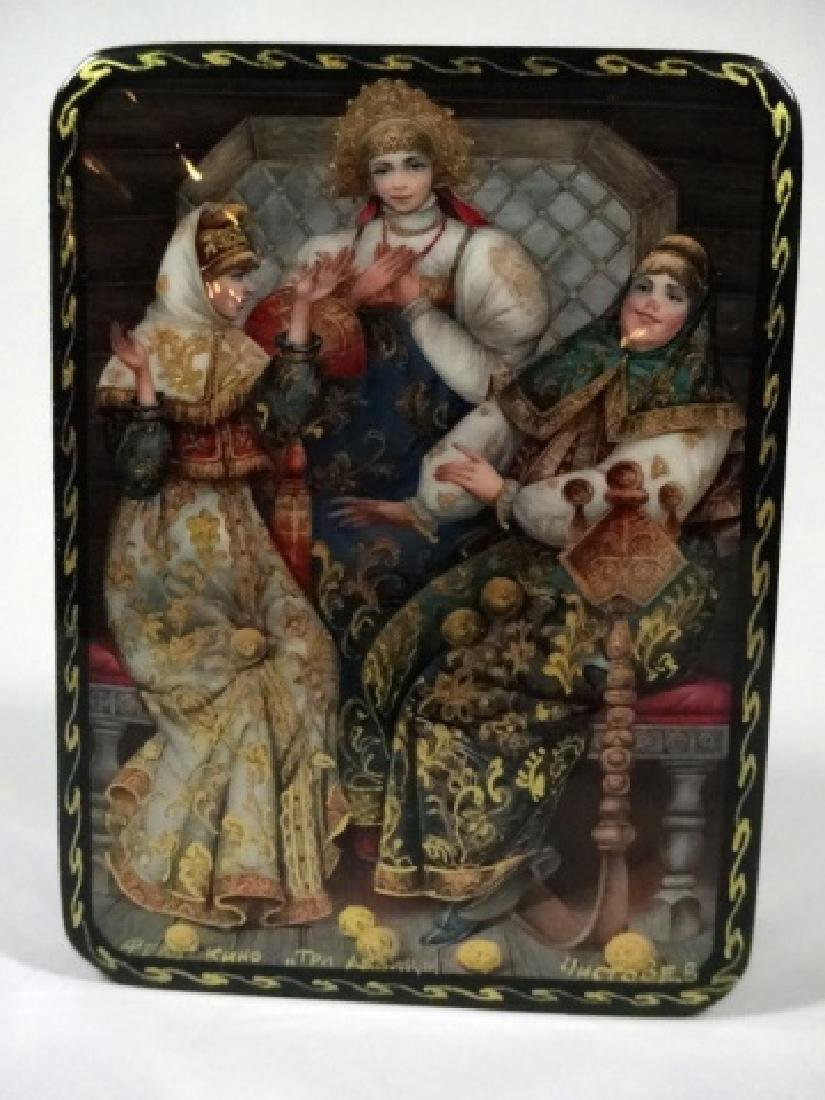 5 PC RUSSIAN HAND PAINTED LACQUERED BOXES, LARGE BOX - 7