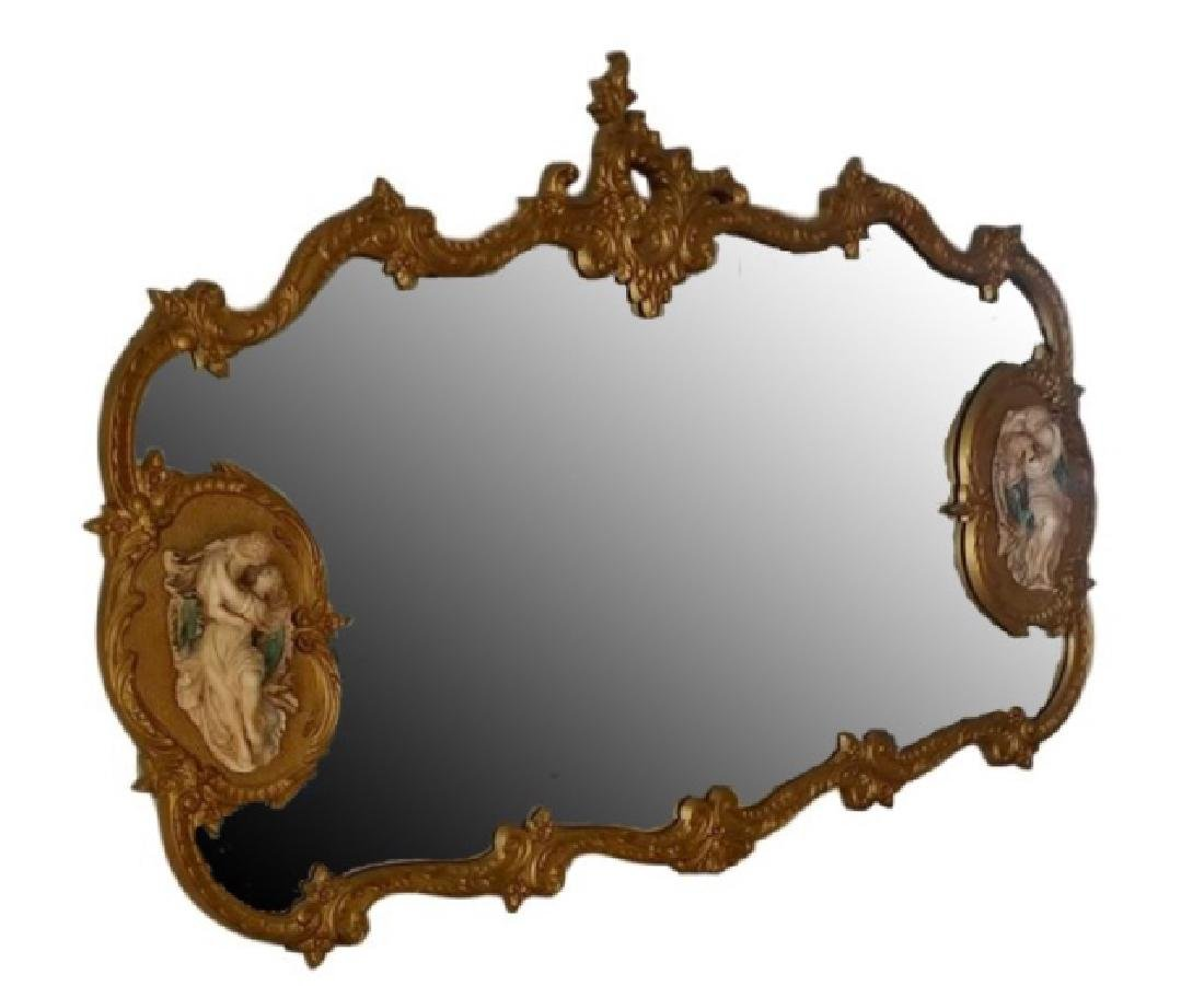 LARGE ROCOCO GILT WOOD MIRROR, 2 OVAL MEDALLIONS WITH