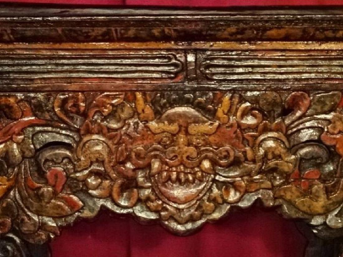 CHINESE TIBETAN RECTANGULAR WOOD TABLE, CARVED DEMON - 2