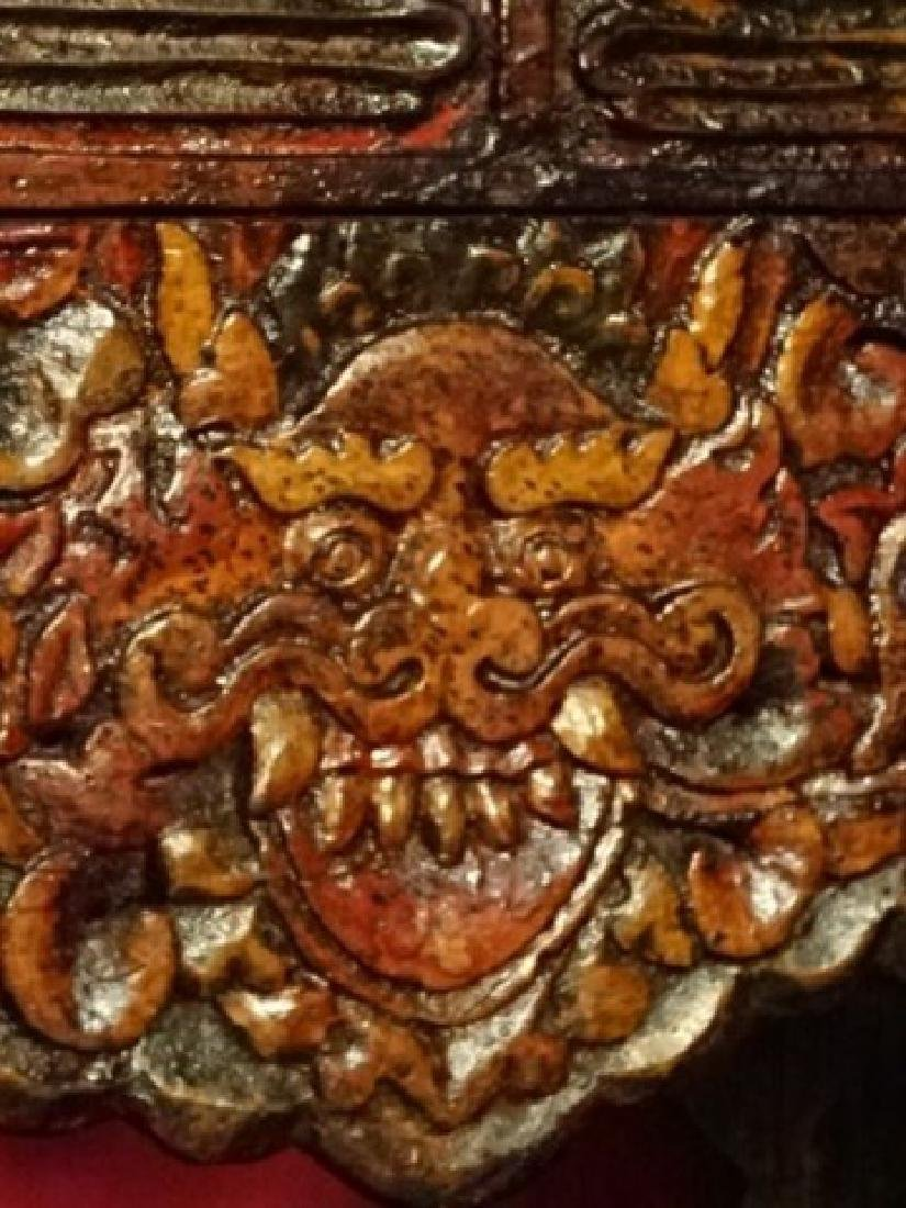 CHINESE TIBETAN RECTANGULAR WOOD TABLE, CARVED DEMON - 3