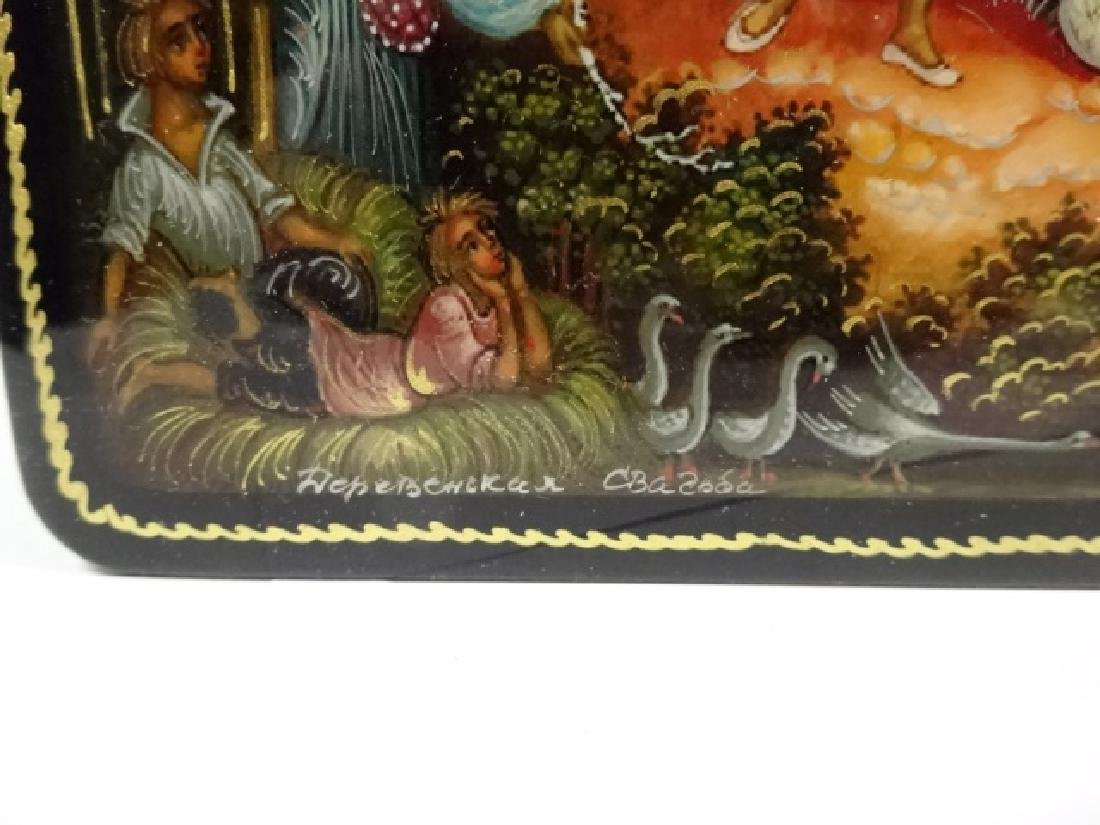 5 PC RUSSIAN HAND PAINTED LACQUERED BOXES, LARGE BOX - 3