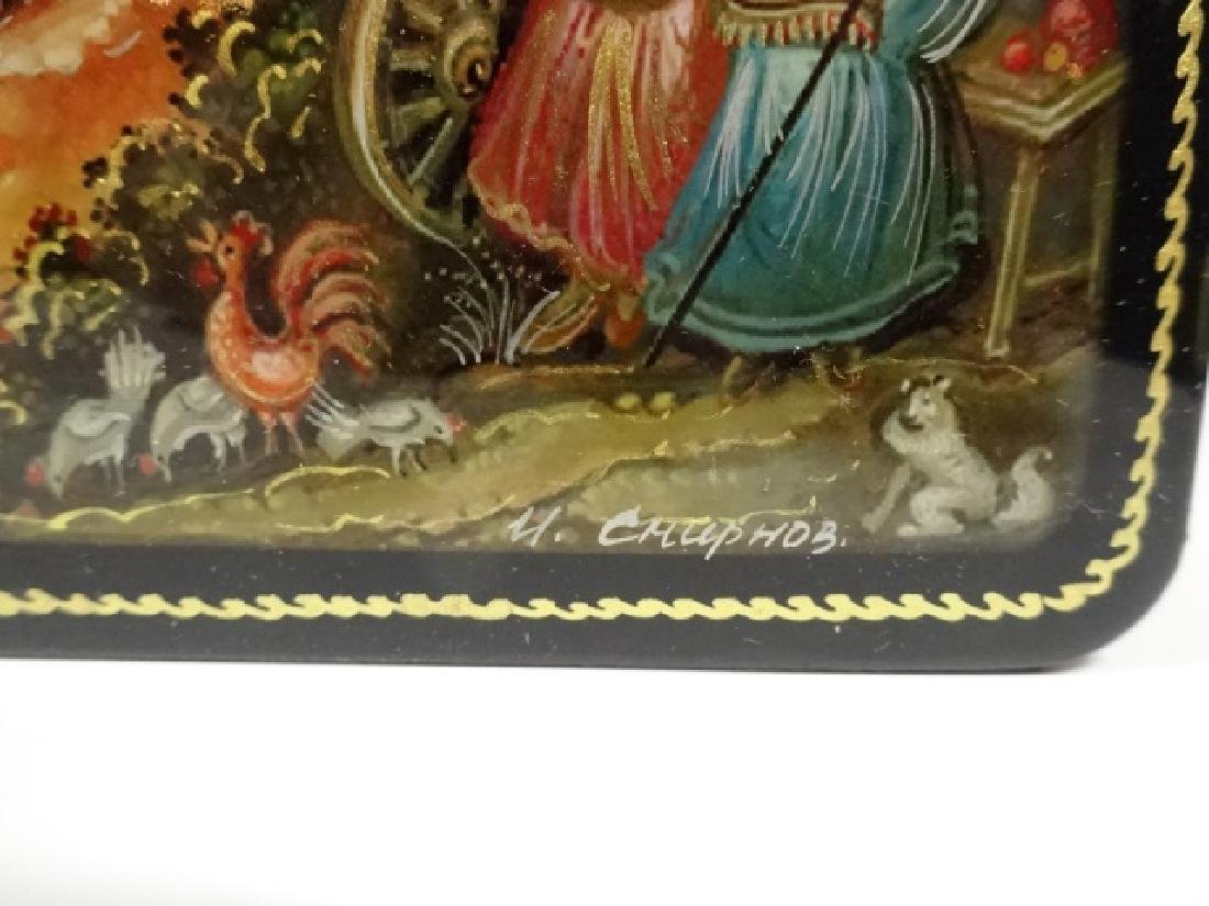 5 PC RUSSIAN HAND PAINTED LACQUERED BOXES, LARGE BOX - 4