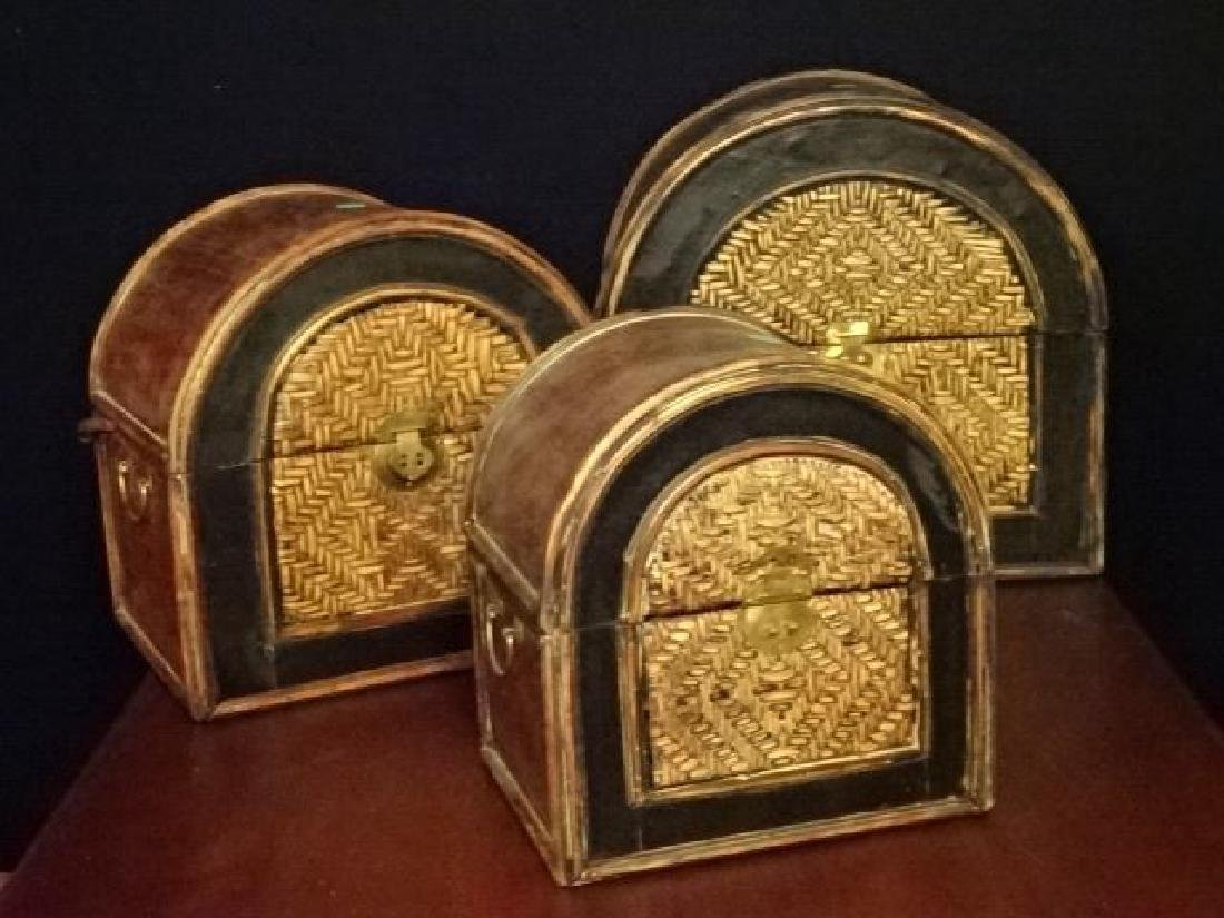 3 PC WOOD AND RATTAN BOXES, BRASS HARDWARE, VERY GOOD