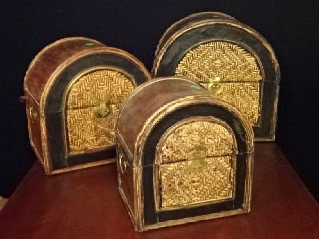 3 PC WOOD AND RATTAN BOXES, BRASS HARDWARE, VERY GOOD - 2