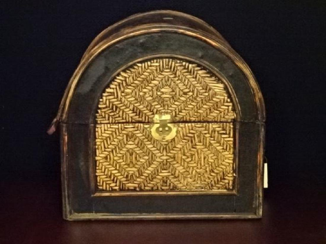 3 PC WOOD AND RATTAN BOXES, BRASS HARDWARE, VERY GOOD - 3