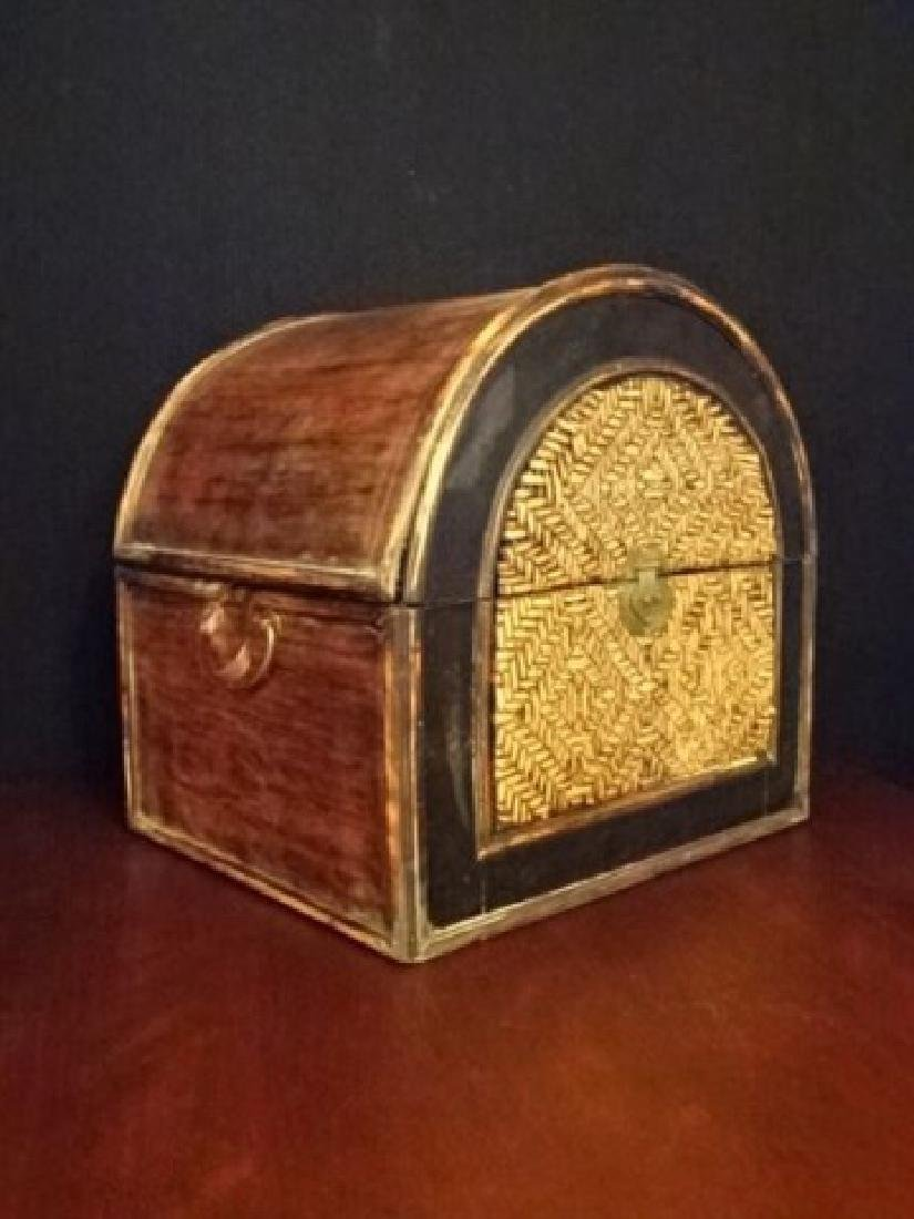 3 PC WOOD AND RATTAN BOXES, BRASS HARDWARE, VERY GOOD - 4