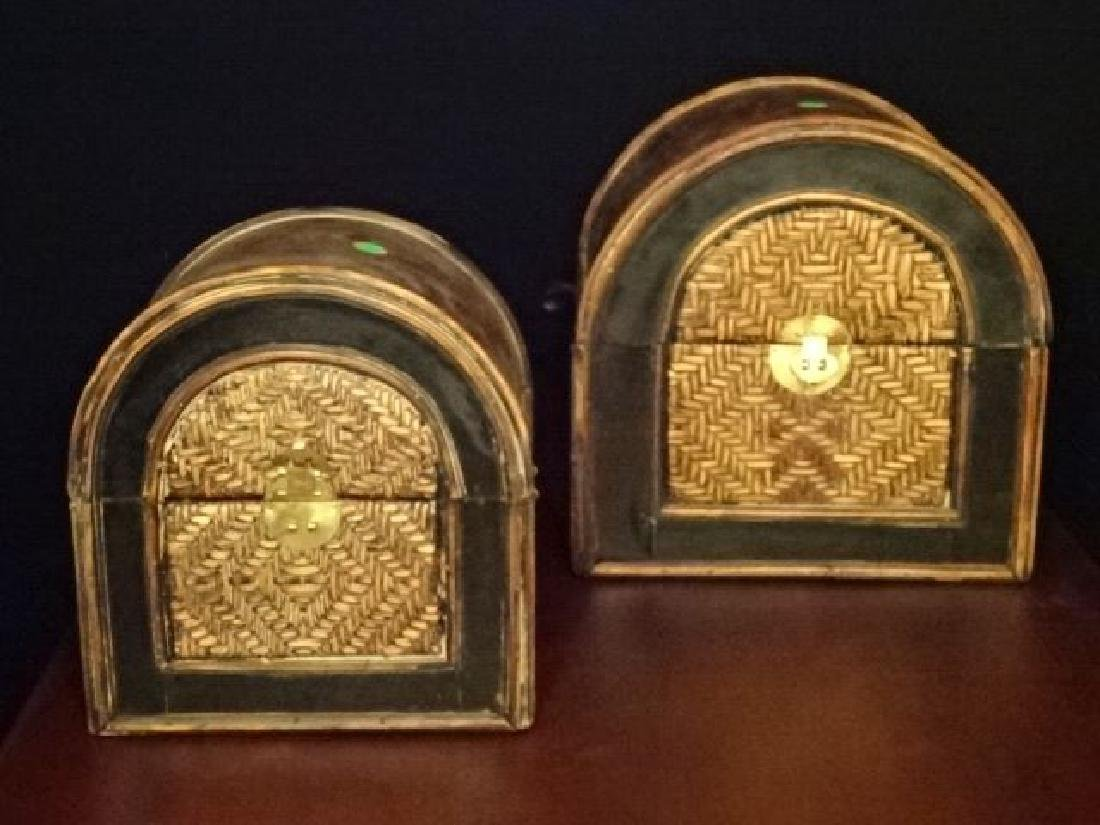 3 PC WOOD AND RATTAN BOXES, BRASS HARDWARE, VERY GOOD - 5