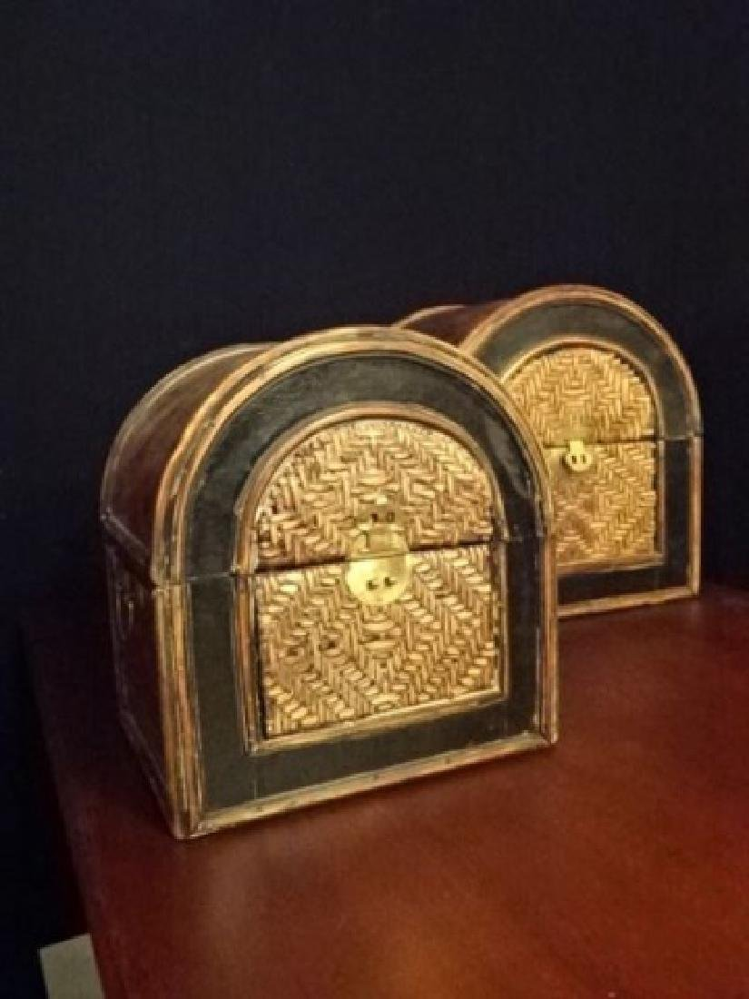 3 PC WOOD AND RATTAN BOXES, BRASS HARDWARE, VERY GOOD - 6