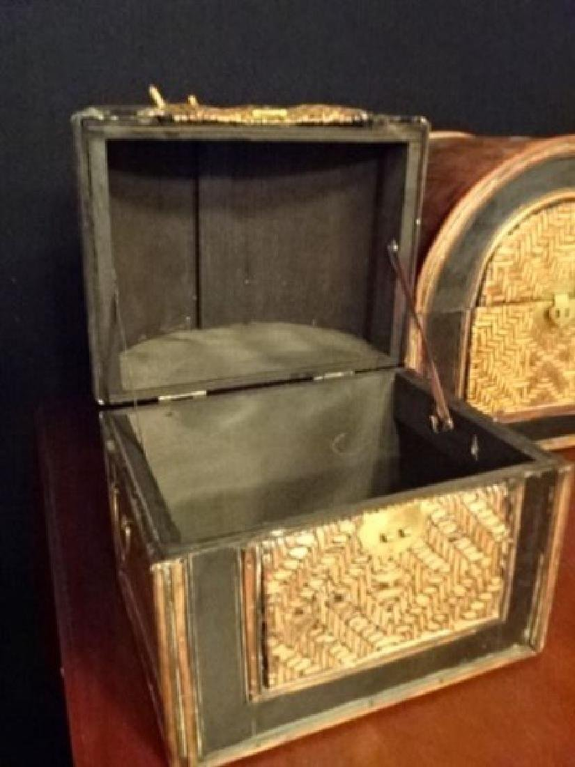 3 PC WOOD AND RATTAN BOXES, BRASS HARDWARE, VERY GOOD - 7