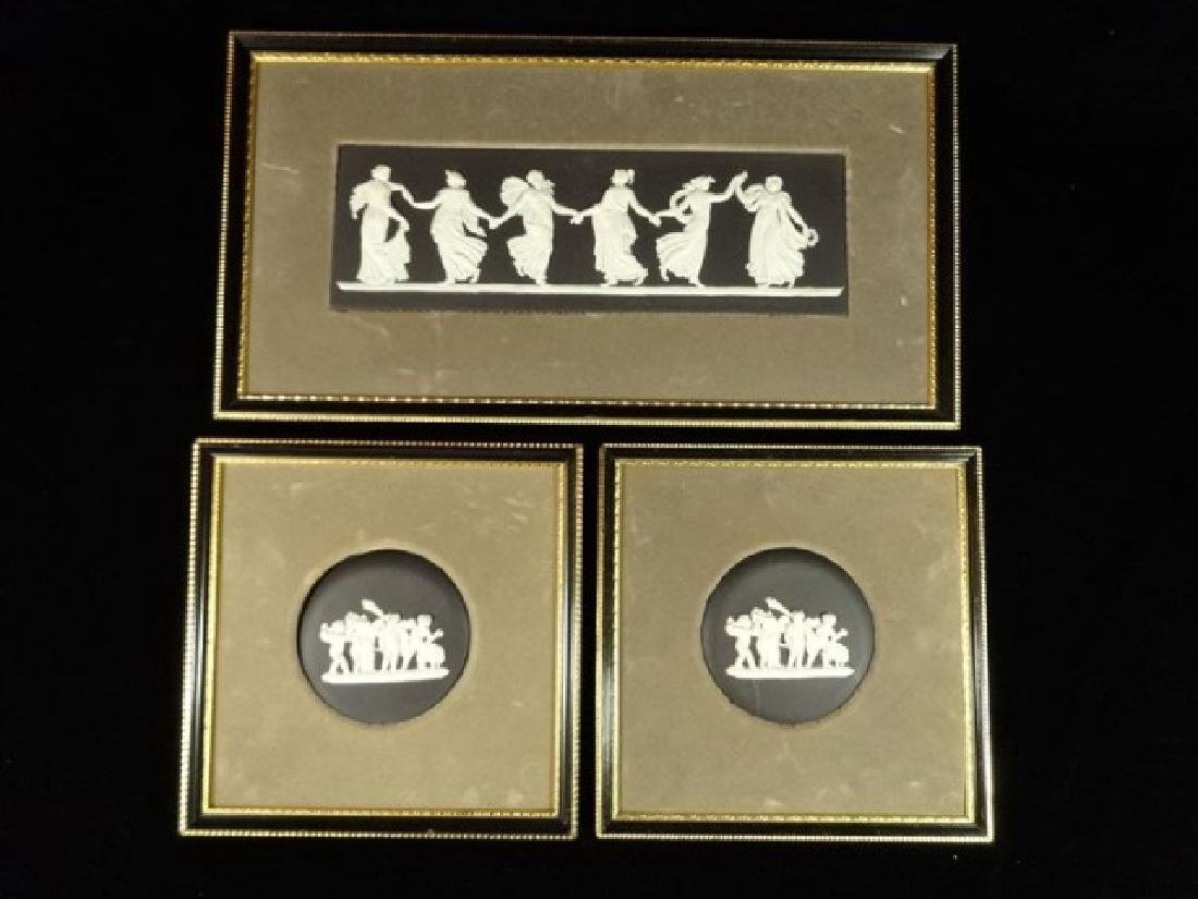 3 WEDGWOOD JASPERWARE FRAMED PLAQUES, BLACK AND WHITE