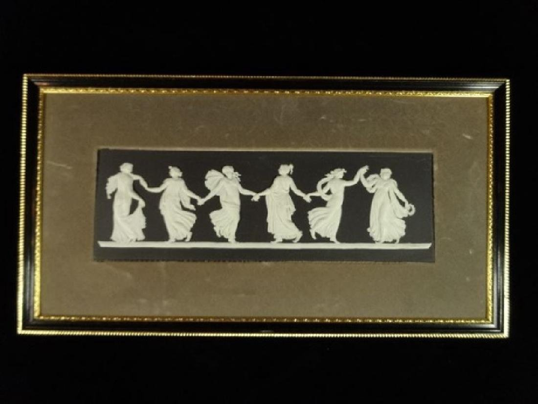 3 WEDGWOOD JASPERWARE FRAMED PLAQUES, BLACK AND WHITE - 2