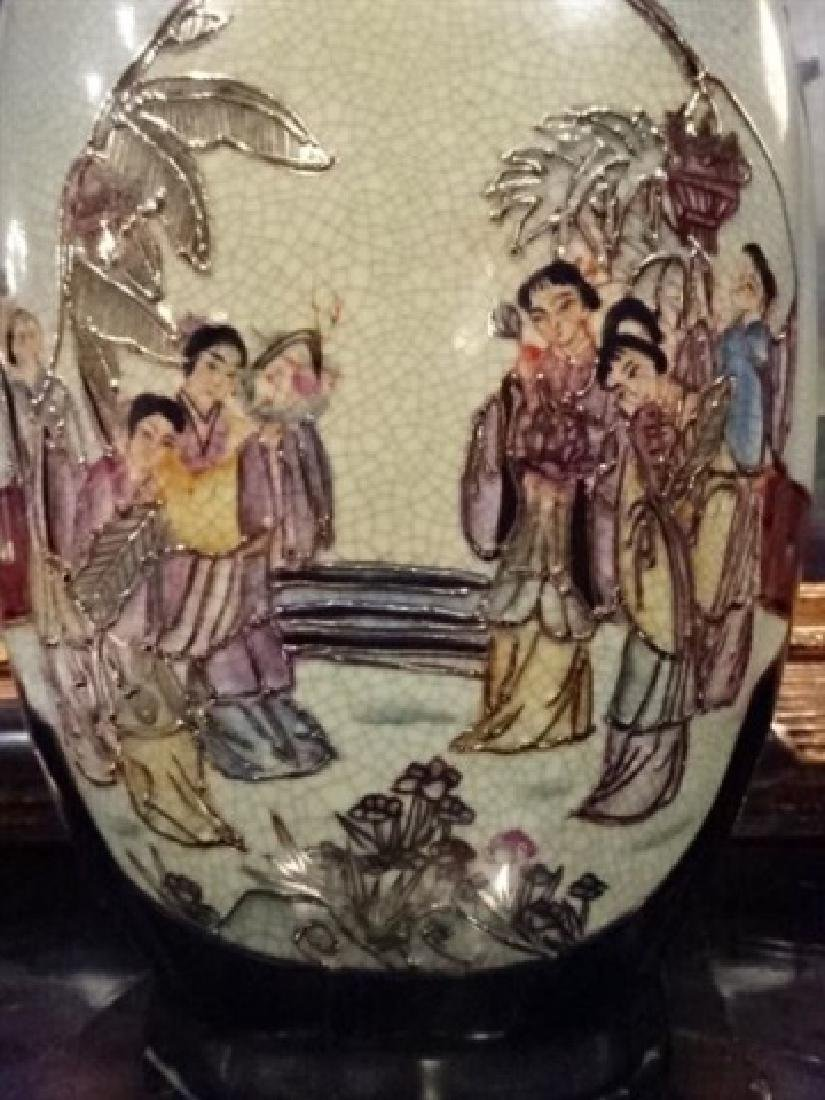 ASIAN PORCELAIN VASE, PAINTED AND GILT FIGURAL SCENES, - 2