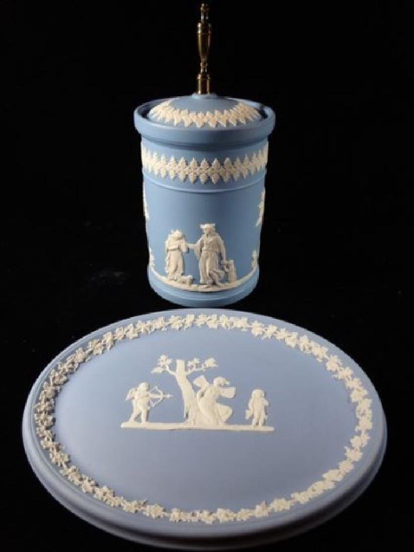2 PC WEDGWOOD JASPERWARE CANISTER AND PLATE, BLUE AND