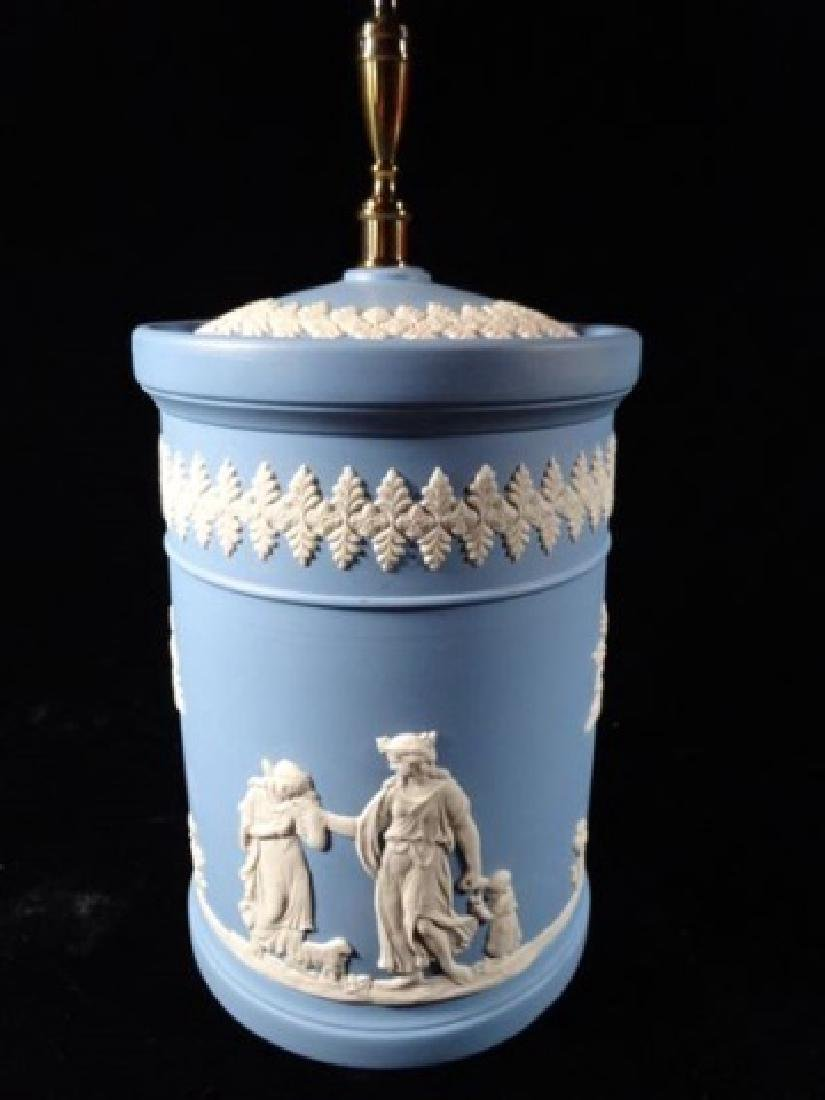 2 PC WEDGWOOD JASPERWARE CANISTER AND PLATE, BLUE AND - 2