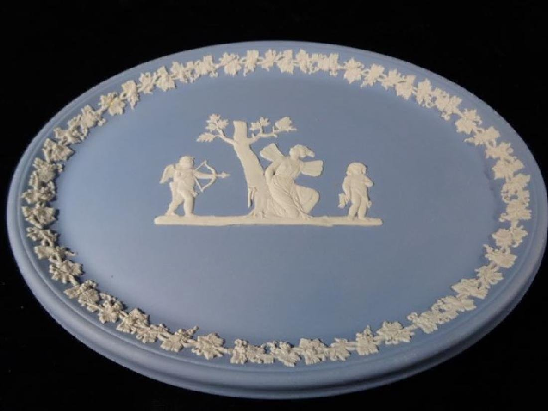 2 PC WEDGWOOD JASPERWARE CANISTER AND PLATE, BLUE AND - 4