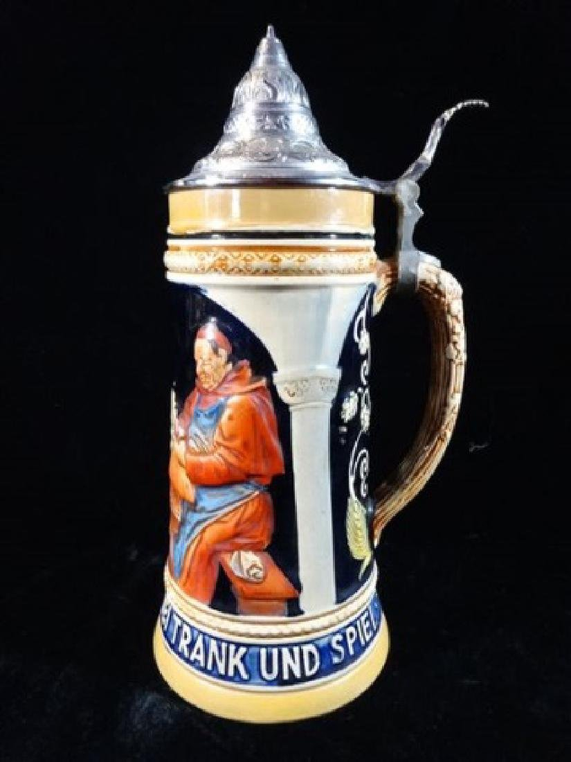 GERMAN PORCELAIN BEER STEIN, RELIEF DESIGN OF MEN