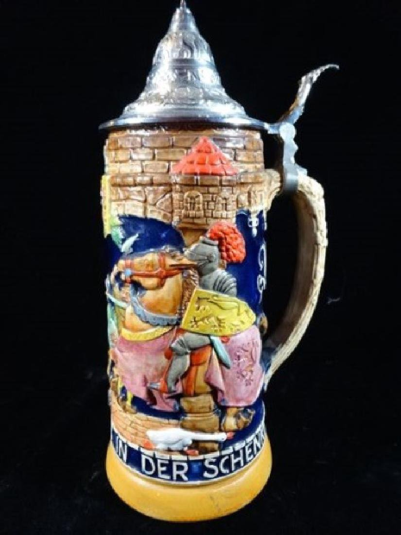 GERMAN PORCELAIN BEER STEIN, RELIEF DESIGN OF KNIGHT ON